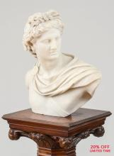 A Fine Quality Italian Carrara Marble Bust of Apollo