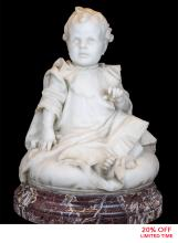 "A Fine Carrara Marble Sculpture Entitled ""Bambini"
