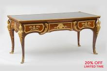 A Fine Quality Régence Style Ormolu Mounted Kingwood and Satinwood Parquetry Writing Table
