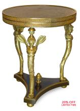 A Fine Quality French Empire Style Gilt Bronze-Mounted Center Table