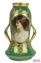A Fine Royal Vienna Gilt Porcelain Iridescent Green Glaze Ground Portrait Vase with Gilded Handles