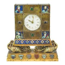 Rare Gilt Bronze and Champleve Enameled Clock by E.F. Caldwell