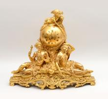 A Fine Napoleon III Style Ormolu Figural Mantel Clock with a Putto