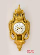 A Fine Louis XVI Style Gilt Bronze Cartel Clock by Cronier Paris
