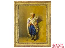 A Fine Oil Painting of a Golfer by Louis Charles Bombled