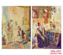 A Fine Pair of Orientalist Watercolors Depicting a Carpet Merchant and a Merchant of Islamic Vases by Amedeo Simonetti