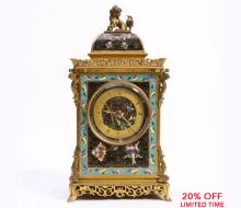 An Exquisite French Cloissone and Bronze Orientalist Mantel Clock by Bigelow Kennard & Co.