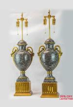 A Magnificent Pair of Large French Ormolu-mounted Marble Urns Fitted as Lamps