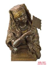 A Very Fine French Polychrome and Gilt Bronze Bust of an Orientalist Woman by Gaston Leroux