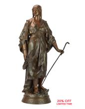 A Fine Patinated Bronze Sculpture of a Woman with a Walking Stick by Emile Louis Picault