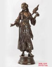 A Finely Casted French Patinated Bronze Sculpture of an Orientalist Dancer by Émile Guillemin