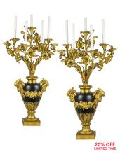 A Monumental Pair of French Gilt Bronze Five-light Candelabras with Floral Arms and Ram's Head Handles