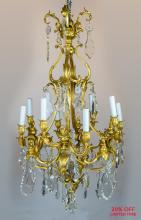 An Exquisite 19th Century Louis XV style Gilt-Bronze and Cut-Crystal Eight-light Chandelier