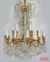 A Magnificent 19th Century French Ormolu and Baccarat Crystal 18-Light Chandelier