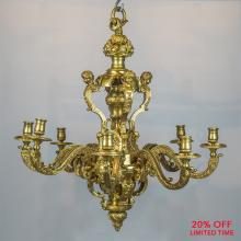 An Exceptionally Stunning, High Quality of Regence Style Gilt-Bronze, Eight-Light Chandelier
