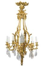 A Fine Quality Gilt-bronze and Rock Crystals Nine-Light Chandelier