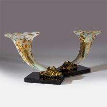 A Rare Pair of Gilt Bronze and Rose Opaline Baccarat Glass Cornucopia Vases