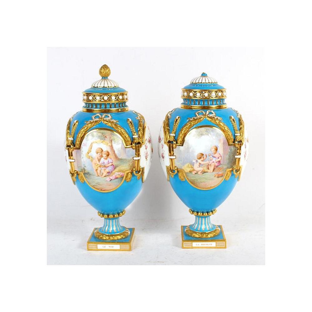 Fine Quality Pair of Mintons Blue Gilt Ground Porcelain Urns
