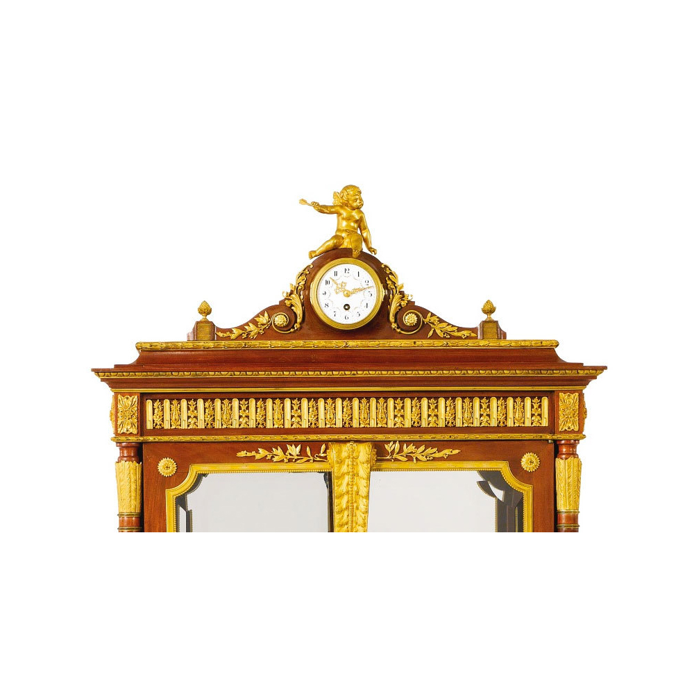 A Fine Louis Xvi Style Gilt Bronze Mounted Mahogany Satine And Bois De Bout Floral Marquetry Vitrine Attributed To Francois Linke