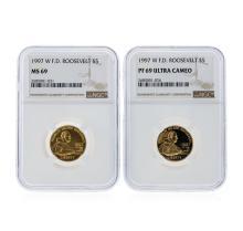 1997-W NGC $5 F.D. Roosevelt Coin Set