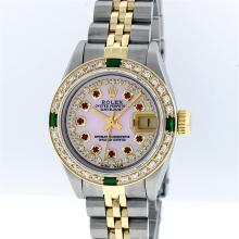 Rolex Two-Tone Pink MOP Ruby and Emerald Diamond DateJust Ladies Watch