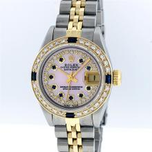 Rolex Two Tone Pink MOP Diamond and Sapphire DateJust Ladies Watch