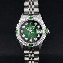 Rolex Stainless Steel Diamond and Emerald DateJust Watch