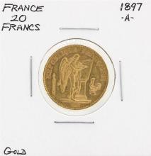 1897-A France 20 Francs Gold Coin