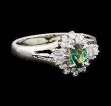 0.43 ctw Alexandrite and Diamond Ring - Platinum