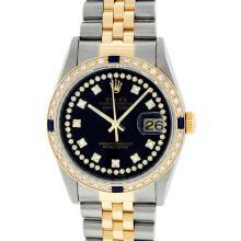 Rolex Two-Tone VVS Diamond and Sapphire DateJust Men's Watch