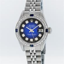 Rolex Stainless Steel Blue Vignette Diamond and Sapphire DateJust Ladies Watch