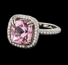 3.46 ctw Morganite and Diamond Ring - 18KT White Gold