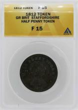 1812 Great Britian Staffordshire 1/2 Penny Token ANACS F15