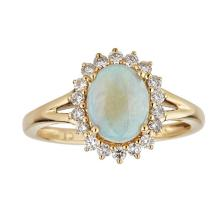 0.92 ctw Opal and Diamond Ring - 14KT Yellow Gold