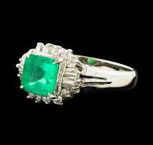 1.11 ctw Emerald and Diamond Ring - Platinum