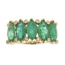 4.35 ctw Emerald and Diamond Band - 18KT Yellow Gold