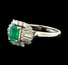 0.72 ctw Emerald and Diamond Ring - Platinum