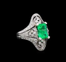 2.95 ctw Emerald and Diamond Ring - 18KT White Gold