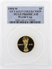 1994-W PCGS PR69DCAM US Vault Collection $5 World Cup Gold Coin