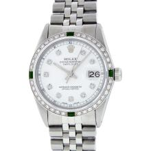 Rolex Stainless Steel Diamond and Emerald DateJust Men's Watch