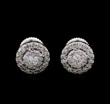 1.00 ctw Diamond Earrings - 14KT White Gold