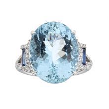 10.68 ctw Aquamarine, Sapphire, and Diamond Ring - 14KT White Gold