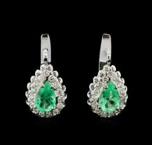 2.14 ctw Emerald and Diamond Earrings - 14KT White Gold