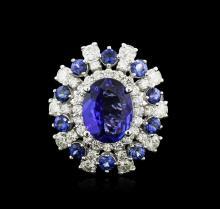 14KT White Gold 4.17 ctw Tanzanite, Sapphire and Diamond Ring