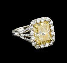 EGL USA Cert 6.79 ctw VVS1 Fancy Yellow Diamond Ring - Platinum