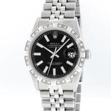 Rolex Stainless Steel Black Index Pyramid Diamond DateJust Men's Watch