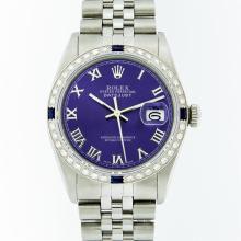 Rolex Stainless Steel Purple Roman Diamond and Sapphire DateJust Men's Watch