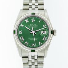 Rolex Stainless Steel Green Roman Diamond and Emerald DateJust Men's Watch