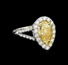 EGL USA Cert 2.72 ctw Fancy Yellow Diamond Ring - Platinum