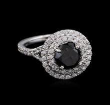 2.92 ctw Black Diamond Ring - 14KT White Gold